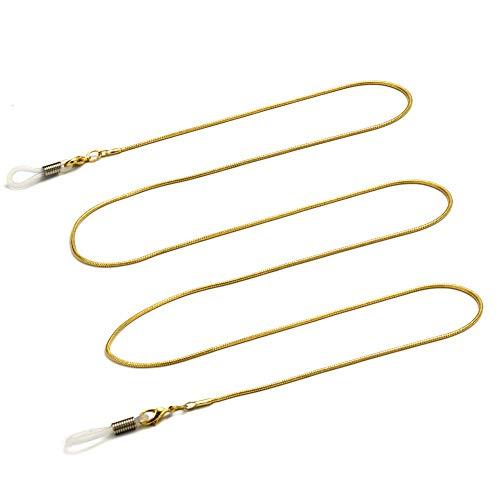 Soleebee 80 cm Mode Universal Brillen Ketten Schnur Edelstahl Brillenhalter kette Brillenband/Brillenkette/Brillen Cord/Sonnenbrille kette Hals Lanyard/Brillenhalter Hals Cord Strap - Gold