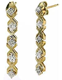 18K Gold over Sterling Silver Diamond Accent Linear Drop Earrings