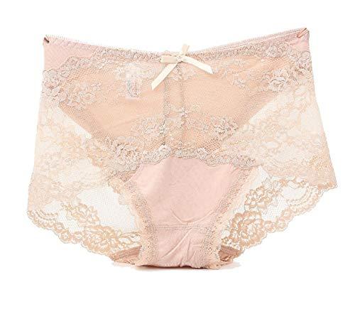 Boy Cut Lace Panty (CuteRose Women's Plus Size Lace Breathable Modal Cotton Sexy Daily Briefs AS1 S)