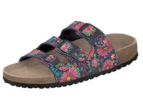Supersoft Damen Hausschuhe Pantoffeln 274-475 Flower Blue Multi (39 EU)