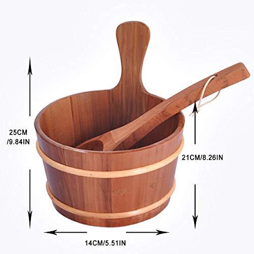 Bouder Saunaeimer aus Holz, handgefertigt, mit Schöpflöffel, Sauna-Badezimmer-Zubehör, Whirlpools