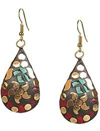 Kaizer Jewelry Handmade Lightweight Tibetan Hook Dangler Earrings for Women and Girls
