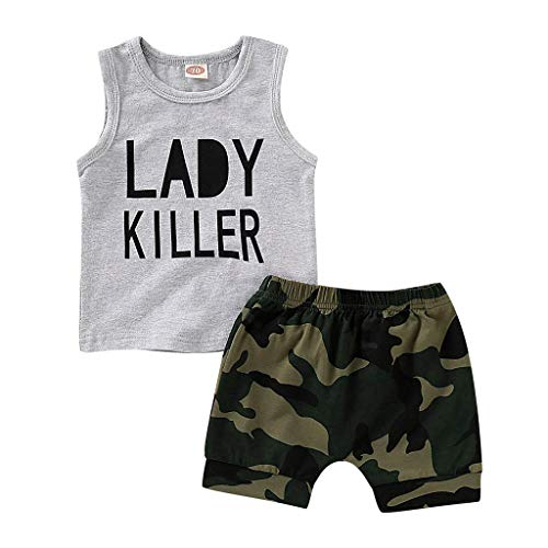 Camouflage-outfit (Babykleidung Neugeborene Sommer,Covermason Säugling Baby Junge Kind Brief Gedruckt Weste Tops + Tarnen Kurze Hose Camouflage Outfits Set (12-18M, Grau))