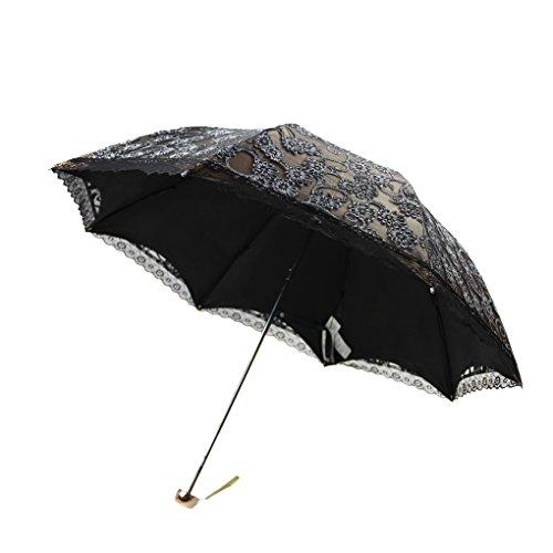 FakeFace Damen Mädchen Polyester Spitze Faltbarer Regenschirm Sonnenschirm Manuell UV-Schutz Schirm für Outdoor Camping Fashion Geschenk