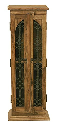 Jali Solid Sheesham Indian Rosewood 2 Door CD Tower Fully Assembled