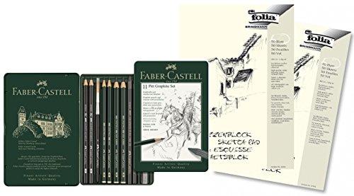 Preisvergleich Produktbild Faber-Castell 112972 - Pitt Graphite Set im Metalletui, klein, 11-teilig klein, mit 2 Skizzenblöcken