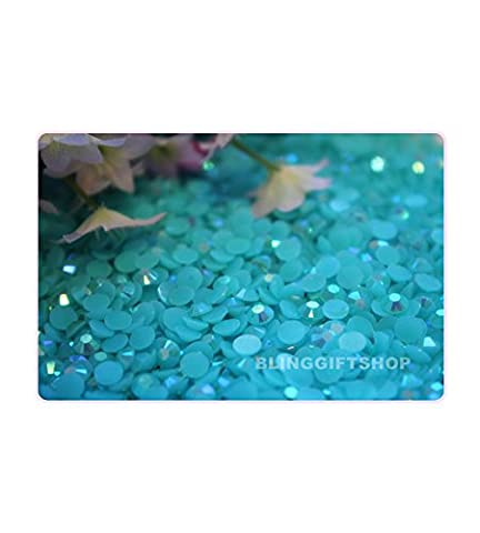 60 Colours Pack of 2000 x Flat Back Rhinestone Diamante Resin Crystal Gems by BlingGiftShop - 3mm, Aquamarine Jelly AB