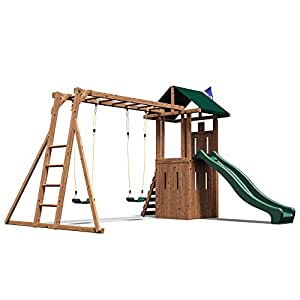 Climbing Frame Playhouse Wooden Monkey Bars Slide Swing Set - Dunster House® QuestFort™ Triumph
