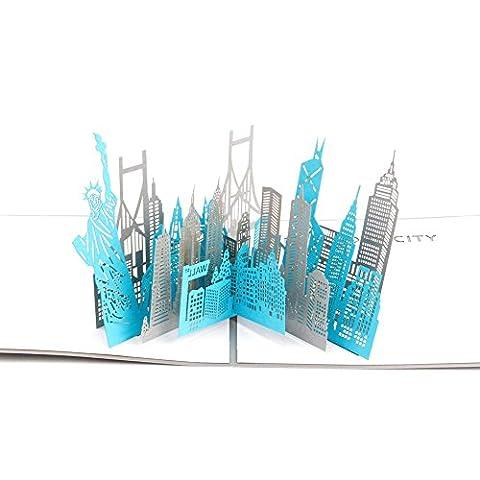 Paper Spiritz Carte Anniversaire Pop up Silhouette de New York Portrait 3d Carte de voeux carte postale découpé au laser carte de remerciement faite