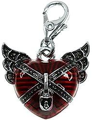 Charm coeur rouge et ailes noires So Charm