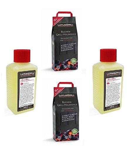2x LotusGrill Buchenholzkohle 2,5 kg Sack inkl. 2x LotusGrill Brennpaste 200 ml, beides entwickelt für raucharmes Grillen mit dem LotusGrill