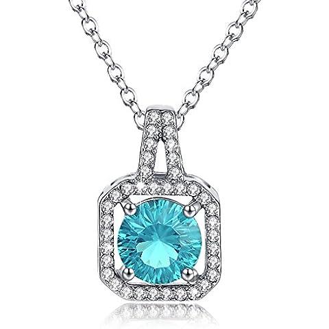 Birthstone collana Halo diamante cubico zircone quadrato ciondolo gioielli regalo di Natale per le donne
