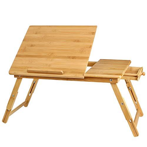 Homfa Mesa Ordenador Portátil Bambú Soporte Laptop
