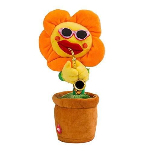 camellia Kreative Bezaubernde Sonnenblume singen tanzen Blume mit Saxophon 80 Songs lustige elektrische Musik Toys weiche plüsch Spielzeug (orange)