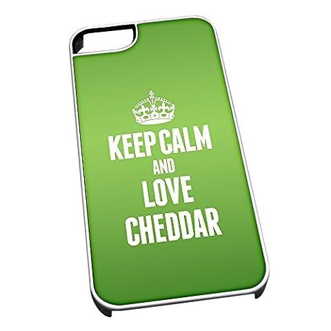 Weiß Schutzhülle für iPhone 5/5S 0937grün Keep Calm und Love Cheddar (Weißer Cheddar)