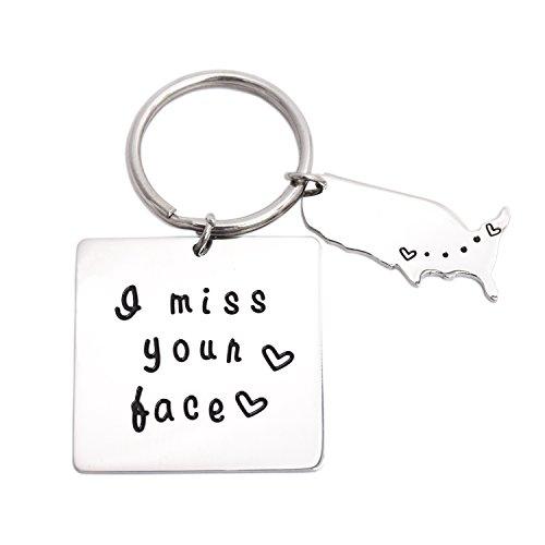 LParkin I Miss Your Face Schlüsselanhänger Valentines Freund Freundin Geschenk Long Distance Beziehung Geschenke
