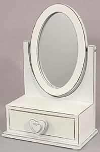 Belle Petite Joli En bois Coiffeuse Miroir De Courtoisie en blanc
