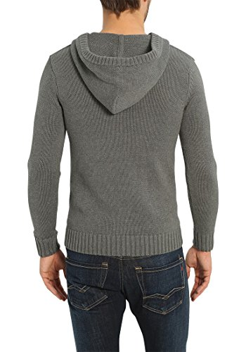 SOLID Penn Herren Kapuzenpullover Strickhoodie aus hochwertiger Baumwollmischung Grey Melange (8236)