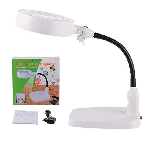 tm-home 8-fache Lupe - faltbares Design mit 6 energiesparenden LED-Lichtern - beste Hände freie Lupe mit Lichtern zum Lesen, Hobby, Basteln, Werkbank (Werkbank Lupe)