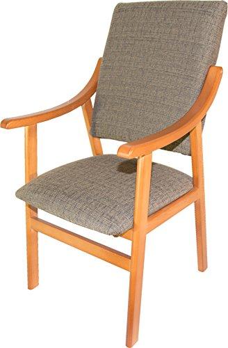 Sillón silla de madera maciza color cerezo. Tapizado marrón. 56x60x98cm. Para salón comedor. Envío montado.