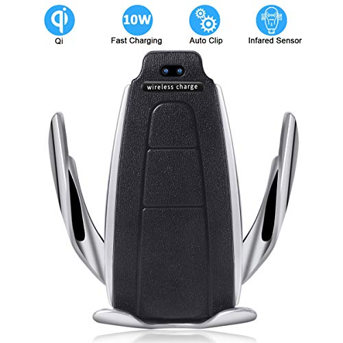 Cevikno Handyhalter fürs Auto Handyhalterung Lüftung, automatische-klemmung Qi Drahtloses Ladegerät Air Vent Phone Holder für iPhone Samsung, Huawei, Smartphone (Silber A) (A1)