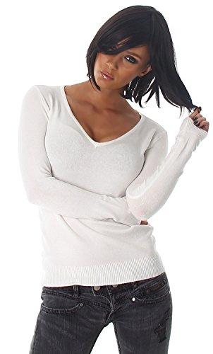 Luxestar Damen Pullover einfarbig Einheitsgröße (32-38) Weiß