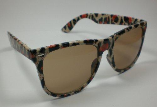 Damen Nerd Sonnenbrille Wayfarer Brille Leo-Design Kultbrille der 80er Retro-Brille Motiv 2
