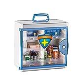 WJQSD Medical Box Scatola Medica montata a Parete del Pronto Soccorso, Farmacia, gabinetto di Chiave di Combinazione di Alluminio + Porta di Vetro chiudibile a Chiave Caso di Pronto Soccorso, casa