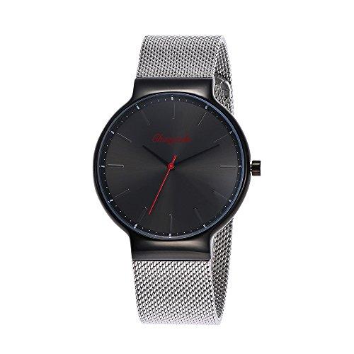 YAZILIND Quarz wasserdicht Armbanduhr runden Zifferblatt Titan Stahlband Modeschmuck Spange Herren Slim Watch (Frauen)