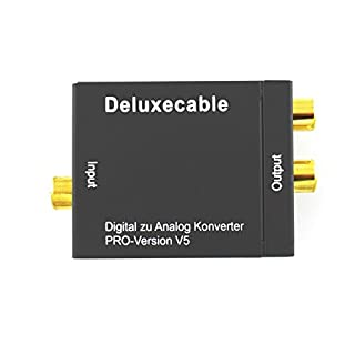 Deluxecable Digital Analog Konverter (SPDIF Toslink/Coax zu rechts/Links Cinch, USB Stromversorgung, Toslinkkabel) schwarz (B00INNL69K) | Amazon price tracker / tracking, Amazon price history charts, Amazon price watches, Amazon price drop alerts