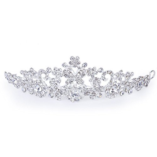 PIXNOR Shining Crystal Rhinestones Butterfly Crown Headband Tiara - Great for Wedding Bridal Bridesmaid Prom (Silver) by Pixnor®