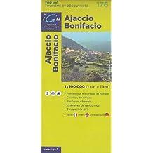Ajaccio, Bonifacio (France, Corse) randonnée topographique, le cyclisme et la carte routière n ° 176