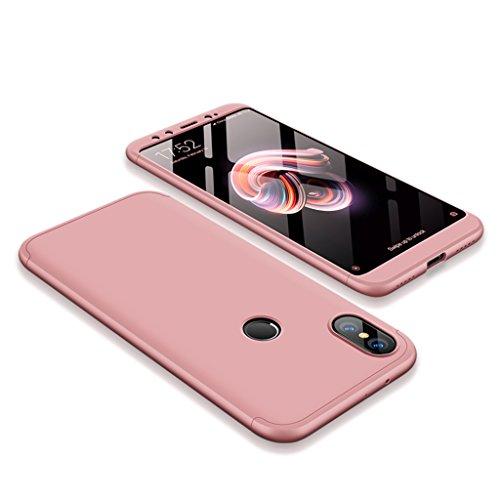 FaLiAng Funda XiaoMi Mi A2, 3 en 1 Desmontable Anti-Arañazos Hard PC Carcasa 360° Full-Cover Anti-Choque Protective Funda para XiaoMi Mi A2 (Oro Rose)