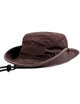 Para hombre verano algodón bordado visera parasol de malla gorro de cubo sombreros pescador escalada al aire libre...