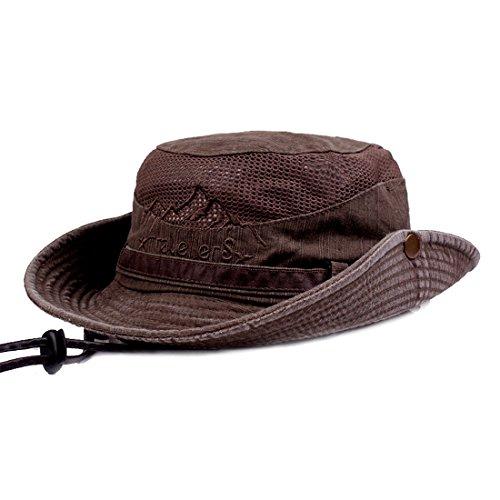 dd4a825cf49 Mens Summer Cotton Embroidery Visor Bucket Hats Fisherman Hat Outdoor  Climbing Mesh Sunshade Cap
