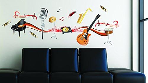 Sticker für Wand – Wandtatoos für Kinderzimmer, Wohnzimmer, Schlafzimmer, Babyzimmer - Wanddeko Modern – 2 x 70x50cm Wandsticker Deko Set Folien Musikinstrumente