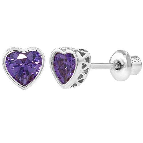 feaad939d219 In Season Jewelry - 925 Plata de Ley Circonita Morado Pequeño Corazón Aretes  con Cierre de