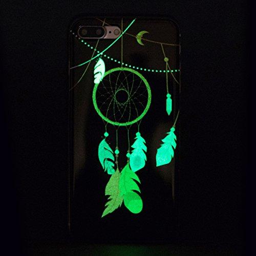 iPhone 7 Plus Handyhülle,iPhone 7 Plus Hülle,JAWSEU Ultradünne Weiche Flexible Night Luminous Schmetterling Muster Blau Rückseite Schutzhülle Tasche Leuchtende Nacht-Abdeckung TPU Silikon Bumper Etui  Traumfänger,Schwarz