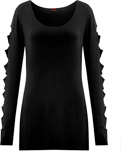 Spiral Slashed Sleeve Manica lunga donna nero S