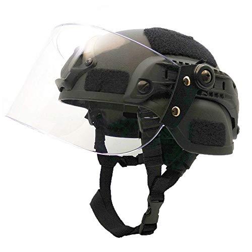 NICEWL Taktischer Helm Mit Schutzmaske - CS Transparenter Airsoft-Gesichtsschutz Police Military Paintball SWAT-Patrouillenschutzhelm, Transparente Visier-Gesichtsschutz-Gleitschiene,Black