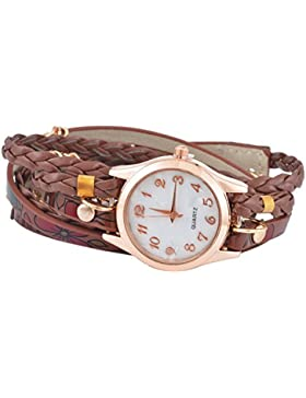 SSITG Damenuhr Armbanduhr Quarzuhr Wickelarmband Analog Watch Retro 55cm
