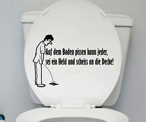 WC Deckel Aufkleber Boden pissen Toiletten lustig Spruch Badezimmer Klo 1K172