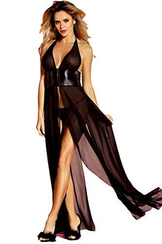 Saphira Mode. Langes Kleid im schwarzen Schleier. Rücken und nackte Schultern. Offen auf dem Gesäß. Dessous. Babydoll Nachthemd