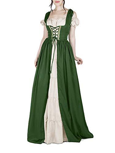 Damen Mittelalter Kostüm Kleider Viktorianischen Party Kleid Grün XL