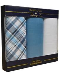 3 Pack Mens/Gentlemens 1 Check & 2 Plain 100% Cotton Handkerchiefs In & Gift Box, Various Colours
