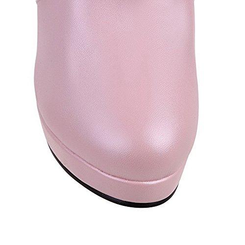 VogueZone009 Donna Bassa Altezza Puro Tirare Tacco Alto Stivali Rosa