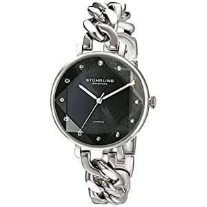 Stuhrling Original Women's Quartz Watch with Black Dial Analogue Display and Silver Stainless Steel Bracelet 596.02