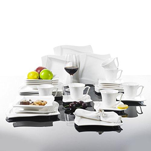MALACASA, Série Amparo, 30pcs Service de Table Complets Porcelaine, 6 Tasses à Café, 6 Soucoupe, 6 Assiettes à Dessert, 6 Assiettes à Soupe, 6 Assiettes Plates pour 6 Personnes