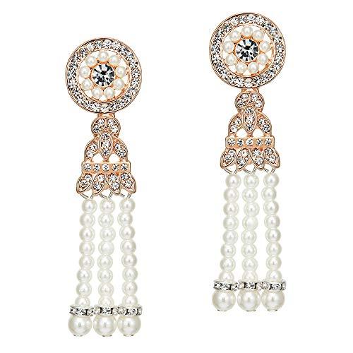 Coucoland 1920s Retro Stil Ohrringe Damen Perlen Dangle Ohrringe Inspiriert von Great Gatsby Damen Kostüm Accessoires (Stil 1-Rose Gold)