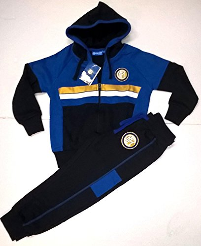Completo felpa + pantaloni tuta inter bimbo bambino prodotto ufficiale fc internazionale (6 anni (m))